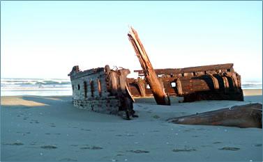 Oregon Coast shipwreck discovery, beachcombing.