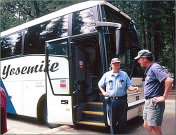 Yosemite National Park tour bus.