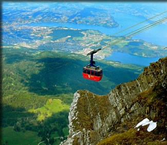 Gondola travel in Switzerland's mountains, an article.