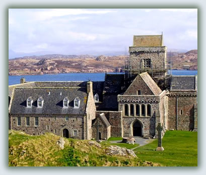 Travel to Christian pilgrimage sites, Iona Abbey, Scotland.