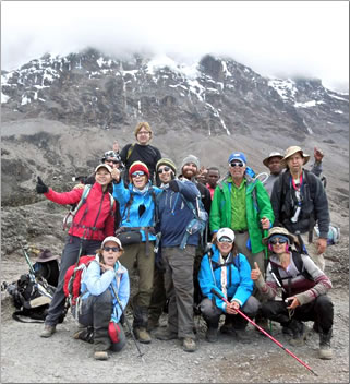 Ultimate Kilimanjaro hiking tour group photo.