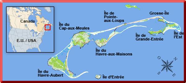 Map of Les Iles de la Madeleine (Magdalen Islands).