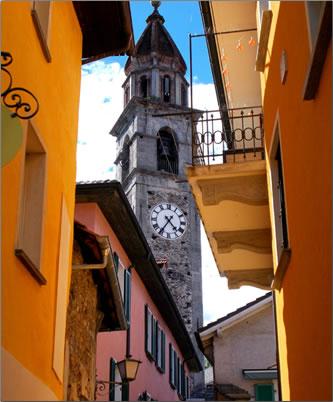 Old town Locarno architecture, vacation around Ticino, Switzerland.