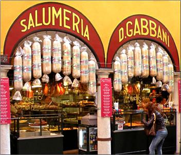 Giant salamis in Lugano, Switzerland delicatessen.