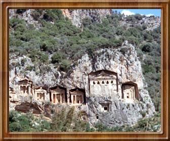 Rock cut tombs of Lycian kings