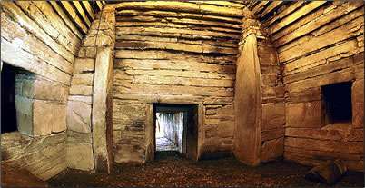 Maeshowe chambered tomb interior, Orkney Islands, Scotland.