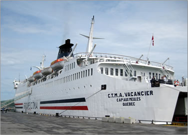 CTMA Vacancier is a cruise ferry sailing from Montreal to Les Iles de la Madeleine on 7 day cruises of the St Lawrence River and the Gulf of St Lawrence.