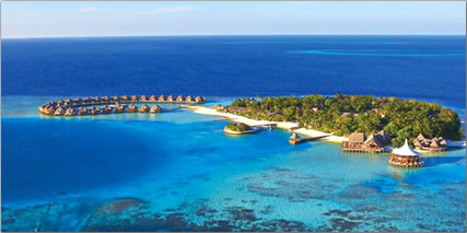 Maldives is 9th smallest country in the world, tiny island resort on coral atoll.