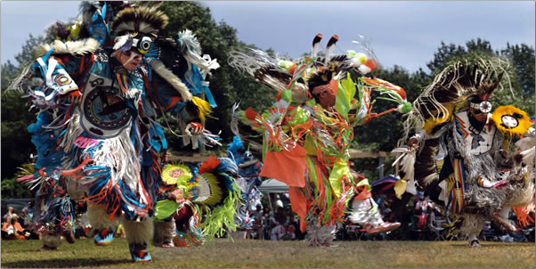 Powwow festival dancing on Ontario's Manitoulin Island, Manitoulin Island Ontario travel.
