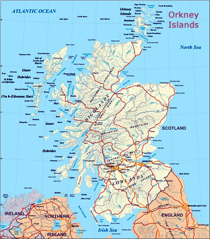Map of Scotland and Orkney Islands.