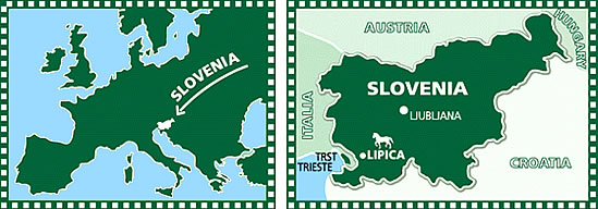 Map of Slovenia and Lipica Stud Farm.