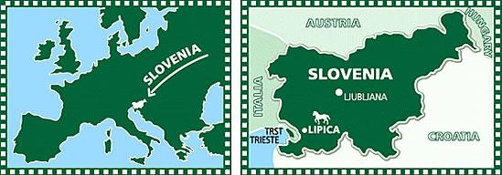 Map of Slovenia and Lipica Stud Farm.