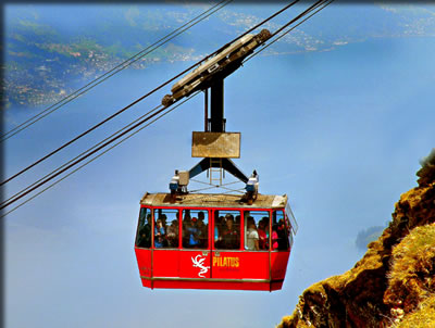 Article about Switzerland travel: gondolas and funiculars.