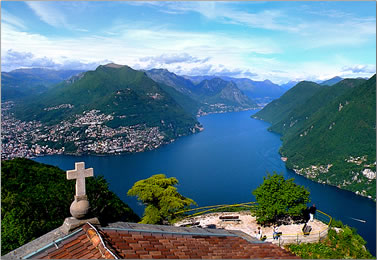 View from the top of Mount San Salvatore, Switzerland.