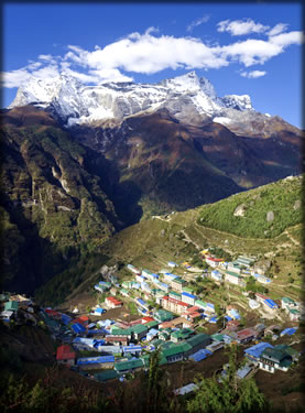 Wilderness photography: Sherpa village in the mountains of Nepal.