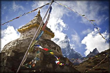Wilderness photography: a Buddhist stupa, mountains of Nepal.