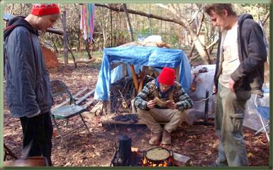 Volunteers camping on organic farmstead in Georgia.