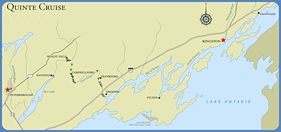 Map of Quinte Cruise route from Kingston, Ontario to Peterborough, an Ontario Waterway Cruses trip.