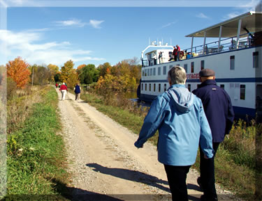 Walking along a pathway while small-ship cruising along Ontario's waterways.