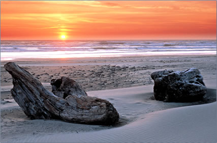 US. Oregon Coast beach sunset, beachcombing, shipwrecks.
