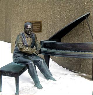 Oscar Peterson bronze statue outside Ottawa's National Arts Centre.