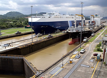 Panama Canal 100th anniversary, ships passing in the locks.