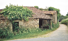 Stone house on the Camino de Santiago walking trail, Spain