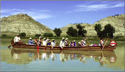 ROW Adventures voyageur canoeing on Upper Missouri River: Multi-generational journeys.