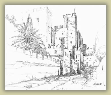 Sketch of Crusader castle on Rhodes: Mark Heine sketching and painting tours.