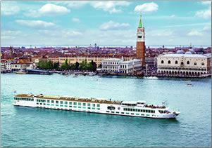 River cruising vessel, River Countess, cruises Venice and northern Italy.