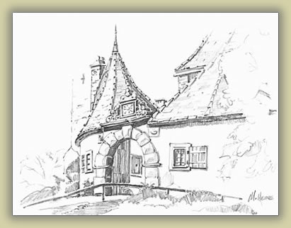 Rothenburg, Germany sketch: Mark Heine sketching and painting tours.