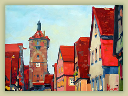 Rothenburg, Germany painting: Mark Heine sketching and painting tours.