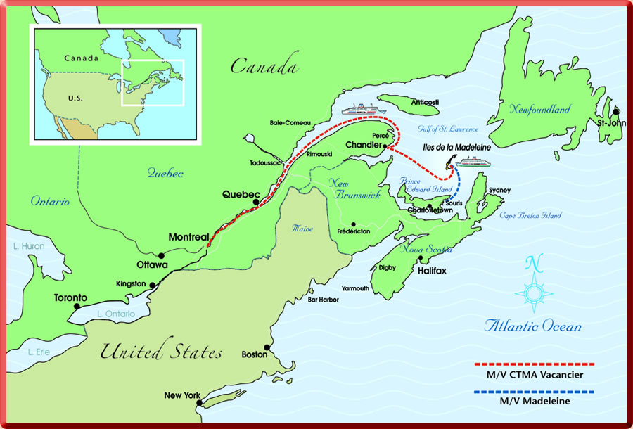 Map of eastern Canada, the St Lawrence River, Gulf of St Lawrence and Les Iles de la Madeleine (Magdalen Islands).