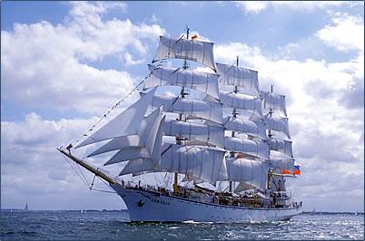 Russian Tall Ship Nadezhda encourages Sail Training for seniors.