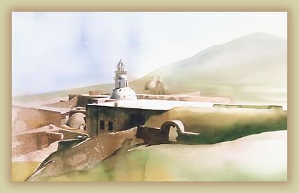 Watercolor of Santorini architectures, Greek Islands.