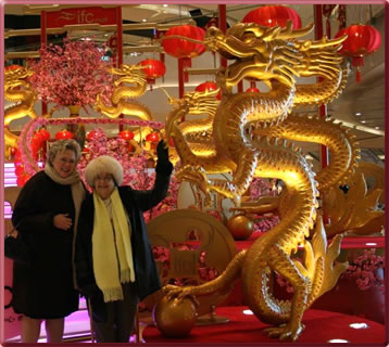 Valerie Grubb and her mother celebrate Chinese New Year in Shanghai, China.