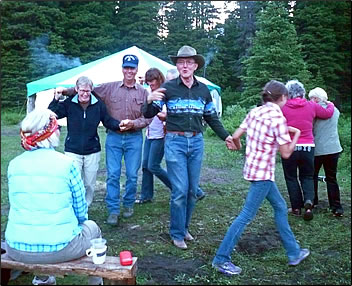 Square dancing on Banff National Park wilderness trail ride camping trip with Trail Riders of the Canadian Rockies.