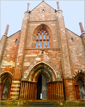 Kirkwall's St. Magnus Cathedral, travel to Scotland's Orkney Islands.
