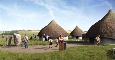 Stonehenge village, reproduced Neolithic huts at new visitor centre.