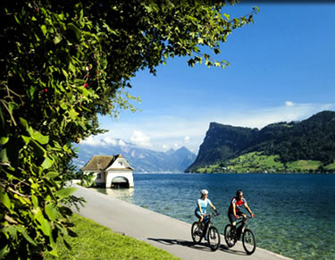 Switzerland's Lake Route skirting 16 Swiss lakes by electric bicycles for a senior-friendly active adventure.