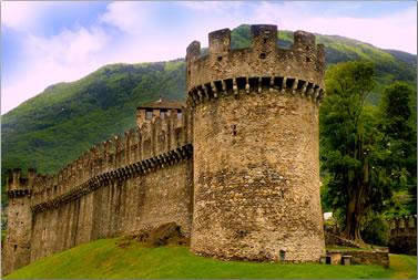 Bellinzona castle on vacation around Ticino, Switzerland.