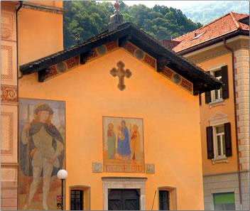 Bellinzona painted church, Ticino, Switzerland.