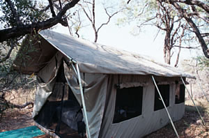Tent on South Africa safari vacation.