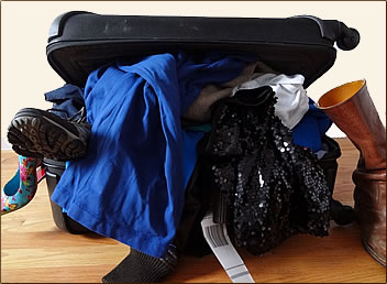 Messy suitcase packing, how to pack your suitcase.