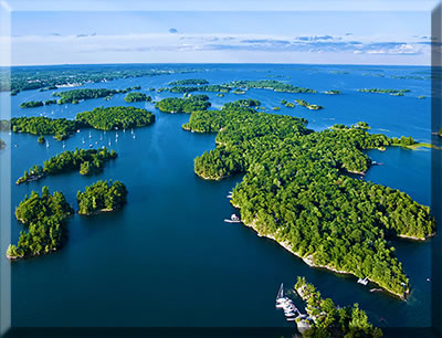 Aerial view of Ontario's Thousand Islands.