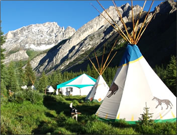 Teepee accommodation on a Trail Riders of the Canadian Rockies summer ride.