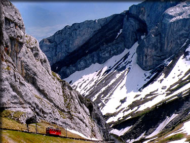Switzerland rail journeys, ascending Mount Pilatus.