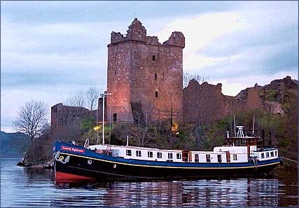 Urquhart Castle, Scotland luxury barging vacations.