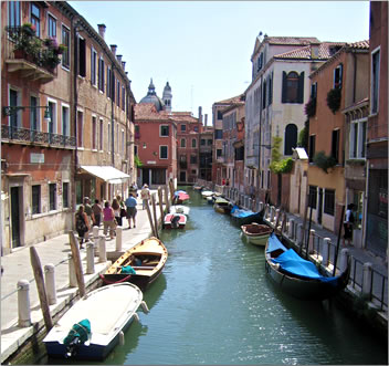 Educational travel Venice Italy, backstreet canals of Venice.