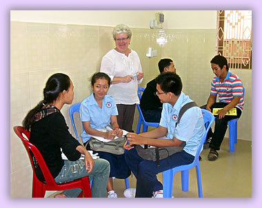 Volunteer service travel, teaching English in Cambodia.